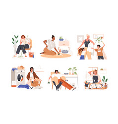 set sad unhappy women tired from housework vector image