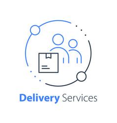 Shop order delivery receive postal parcel vector