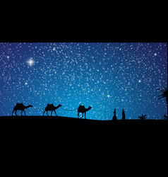 Silhouette of caravan mit people and camels vector