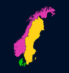 silhouette of scandinavia on map vector image