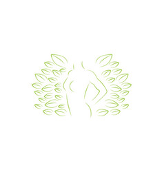 silhouette woman body and leaf woman health logo vector image
