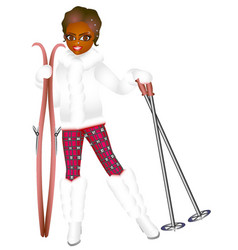 skis girl vector image