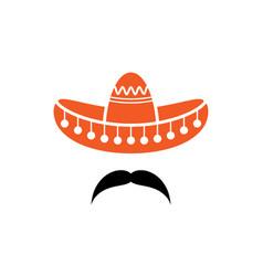 Sombrero mexican hat with mustache black icon vector