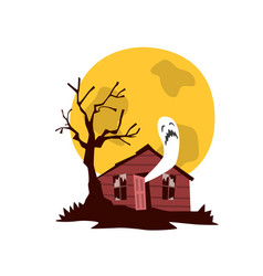 Spooky haunted house witches hut vector