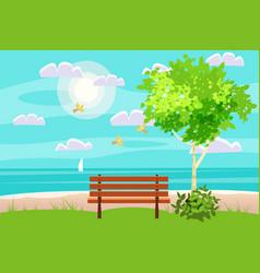 spring landscape on seaside ocean bench in vector image