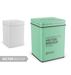 square glossy tin can template realistic vector image