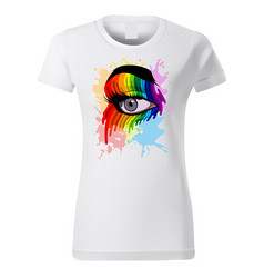 T-shirt design with colorful eye vector