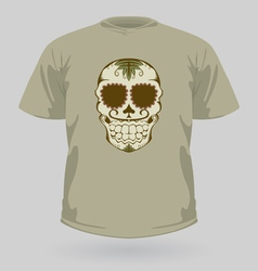 T-shirt with tribal sugar skull vector