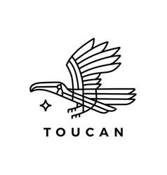toucan bird monoline logo icon vector image