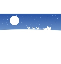 Train santa on the hill scenery silhouettes vector image