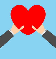 two businessman hands arms holding red heart icon vector image