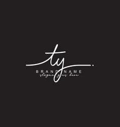 Ty initial signature logo - handwritten vector