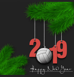 Volleyball ball and 2019 on christmas tree branch vector