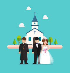 wedding ceremony at church in flat style vector image
