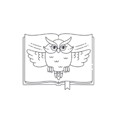 wise owl opens book linear vector image