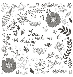 You make me happy romantic card with flowers vector