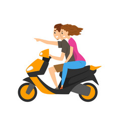young couple travelling by scooter vector image
