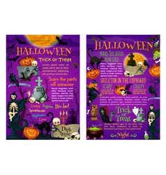 halloween trick or treat poster of october holiday vector image vector image