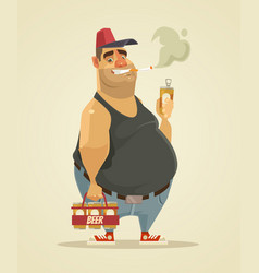 happy smiling man smoking cigarette and drinking vector image