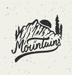 mountains mountain on grunge background vector image