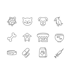 Pets shop and clinic line icons vector image