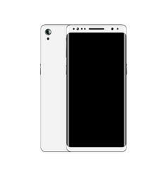 white smartphone front and back view isolated on vector image