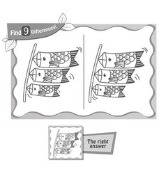 game black find 9 differences lanterns fish vector image