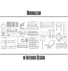 set of 25 items minimalism in interior design vector image vector image
