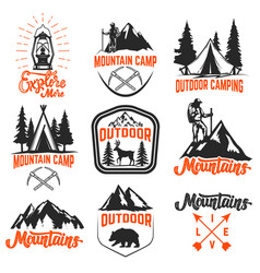 set of mountain camp emblems outdoor tourism vector image