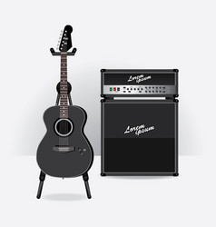 acoustic electric guitar with guitar amplifier vector image