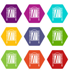 advertising sign icon set color hexahedron vector image