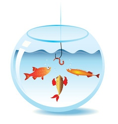 fishing in fishbowl vector image vector image