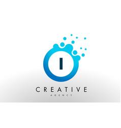 i letter logo blue dots bubble design vector image vector image