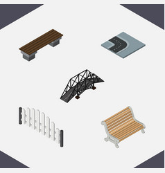 Isometric urban set of barricade seat bench and vector