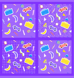 set memphis pattern geometry different backgrounds vector image