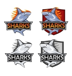 Sharks logo set Animal hunter emblem company vector image vector image