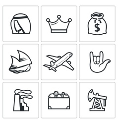 The wealth of arab sheikhs icons set vector