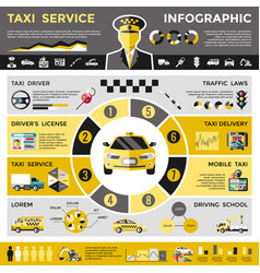 colored taxi service infographic concept vector image vector image