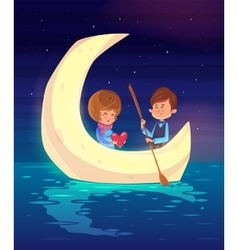 Couple sitting in a boat on the lake cute vector image vector image
