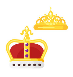 flat style of golden crowns vector image