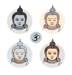 Hand drawn face of Buddha vector image vector image