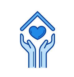 hands and house roof with heart line icon vector image vector image