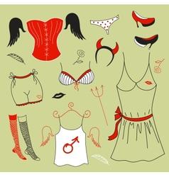 set woman fashion clothes vector image vector image