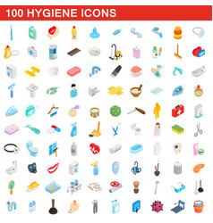 100 hygiene icons set isometric 3d style vector