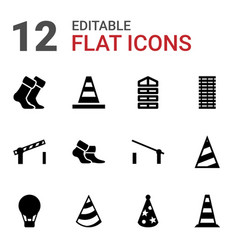 12 striped icons vector