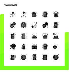 25 taxi service icon set solid glyph icon vector image