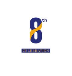 8 th anniversary celebration orange blue template vector