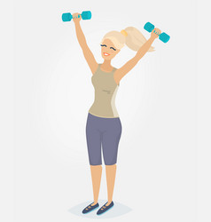 A woman doing morning exercises vector