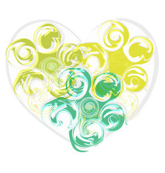 abstract green rose heart vector image