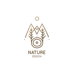 abstract sacred symbol nature logo mountains vector image